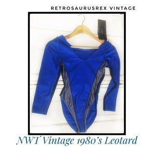 Vintage 1980's Deadstock NWT Ribbed Leotard Med